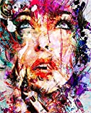 YEESAM ART Paint by Numbers for Adults Kids, Abstract Paint Colorful Face of Woman 16x20 Inch Linen Canvas Acrylic DIY Number Painting Kits Wall Art Decor Gifts (Framed)
