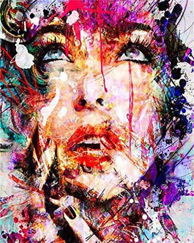 YEESAM ART DIY Ölgemälde Malen nach Zahlen Erwachsene Kinder, Abstrakt Bunt Frauen Gesicht Zahlenmalerei ab 5 Öl Wandkunst (Bunt, ohne Rahmen)
