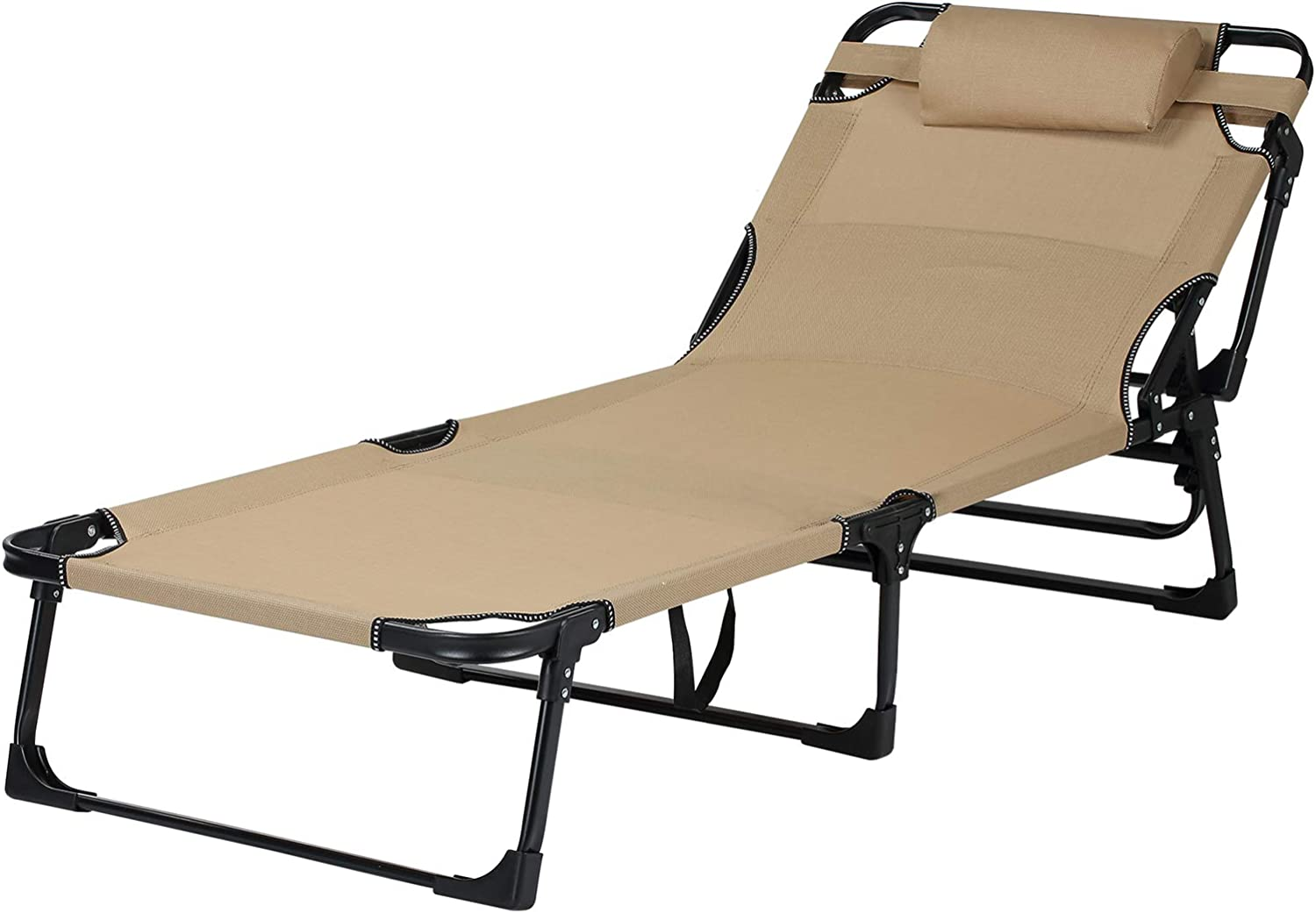 Lawn Sunbathing Deck with Pillow Pool Outdoor Portable Folding Chaise Lounge Chair for Beach Patio LAJOSON Camping Adjustable Folding Bed