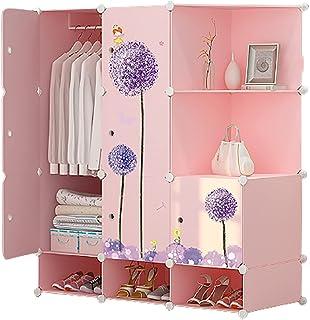LJWLZFVT Armoire Simple Maison Chambre à Coucher Chambre de Location Armoire en Tissu Enfants Suspendus Assemblage casier ...