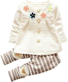 3e0b42eb5aff0 Filles Fleurs Cardigan Veste Pantalon Rayé Costume (Couleur De La Fleur De  Poitrine Aléatoire)
