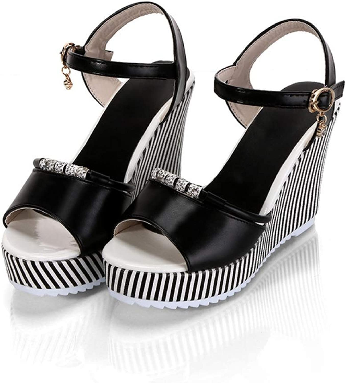 Women Platform Wedges Sandals Female Rhinestone Stripe Fish Mouth Waterproof High Heels Ladies shoes