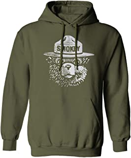 White Hipster Vintage Smokey The Bear Graphic Hoodie