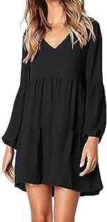 40d0d10531a10d kenoce Damen Kleid Langarm V-Ausschnitt A-Linie Kurze Mini Kleider Lose  Swing T