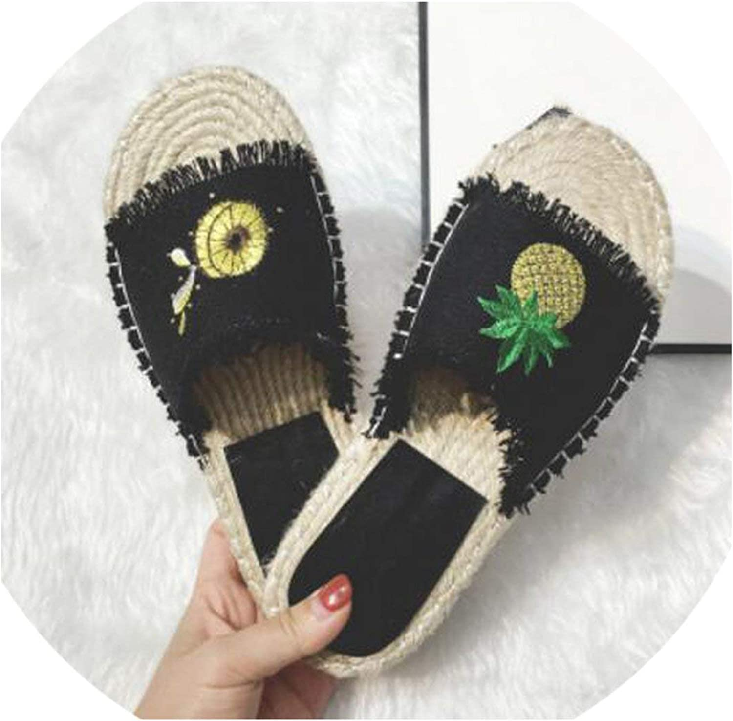 April With You Lemon and Pineapple Embroider Denim Slippers Women Straw Canvas Sandals Fringe Flat Slippers