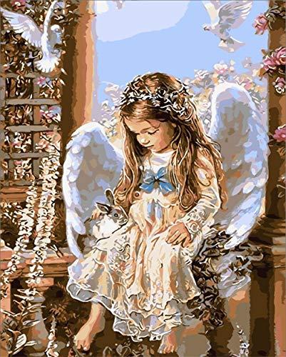 XKLHXFY Pintar por numeros de Kits for Adultos Mayores Avanzada Niños Joven, Pintura por números con Pinceles y Pinturas, Decoración del Hogar, Chica Angel - 40 X 50 cm Sin Marco