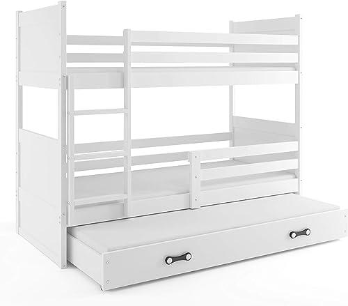 Etagenbett Hochbett RICO 3 (für DREI Kinder) 190x80cm, Frabe  Weiß+ 2. Farbe zu w en; mit Lattenroste + Matratzen (Weiß