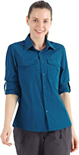 Nonwe Women's Quick Dry Camping Shirts Roll-Up Long Sleeve