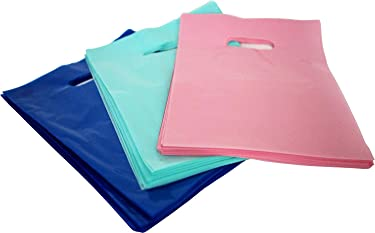 9x12 Glossy Merchandise Bags, Retail Shopping Bags with Handle, Gift Bags, Best Colors-Royal Blue, Pink and Teal. Small Size. Environmentally Responsible 100% Recyclable,150 Pack. Mr.Lordbag