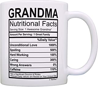 Mothers Day Gifts for Grandma Nutritional Facts Label Funny Gifts for Grandma Gag Gift Coffee Mug Tea Cup White