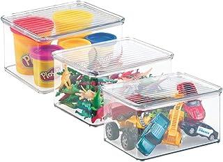 mDesign Juego de 3 organizadores de juguetes con tapa – Cajas de almacenaje para guardar juguetes bajo la cama o en las estanterías de la habitación infantil – Juguetero de plástico transparente