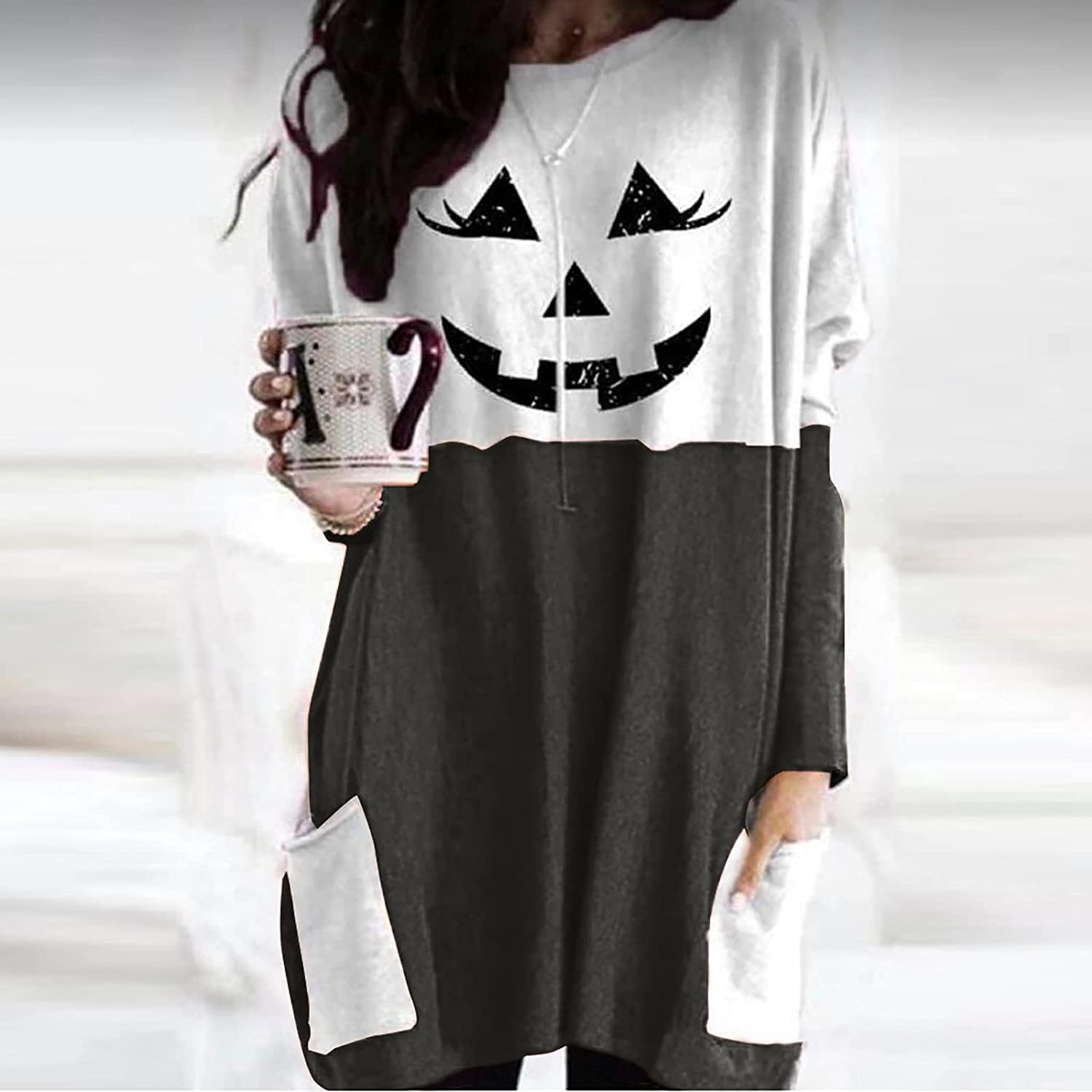 New Tops for Women,Halloween Lantern Ghost Pumpkin Shirt Face Costume Long Sleeves Stitching Color Casual Top Blouse