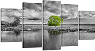 Kreative Arts - Canvas Wall Art Paintings Green Tree Landscape in Black and White 5 Pieces Panel Modern Giclee Framed Artwork Pictures for Living Room Decoration (Large Size 60x32inch)