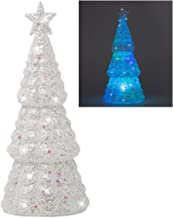 BANBERRY DESIGNS White Frosted Christmas Tree - LED Lighted Table Top Tree with Iridescent Glitter -