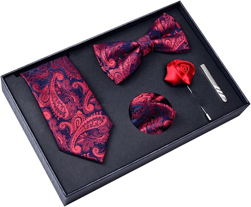 Walnut Gift Box Packing Men Necktie Pocket Square Wedding Mens Neck Ties Silk Tie Set Cufflinks Tie Clips (Color : A)