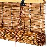 Parasol/Aislamiento Térmico/Privacidad Persianas Enrollables de Bambú,Partición de Decoración de La Pared del Hogar Cortina de Caña,Persianas de Paja de Carbonización Retro (125x280cm/49x110in)