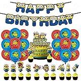 Decoraciones De Cumpleaños De Minions, Globo De Minions, Minions Globos Fiesta Cumpleaños Decoración Feliz Cumpleaños Ballon Banner for Fiesta de Cumpleaños Suministros Decoración Kids