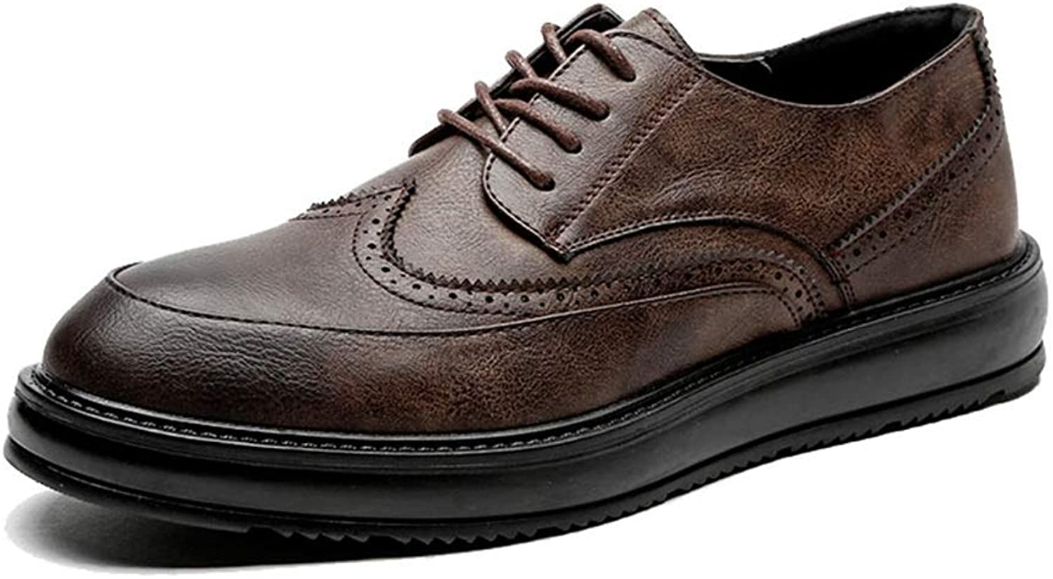 SRY-shoes Men's Simple Fashion Oxford Casual Classic Carvings Breathe Comfortably Outsole Brogue shoes(Patent Leather Optional)