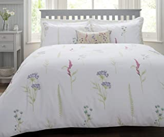 ZIGGUO Spring Meadow 100% Cotton Floral Duvet Cover Queen, Botanical Flowers Embroideried White Bedding Set, 90