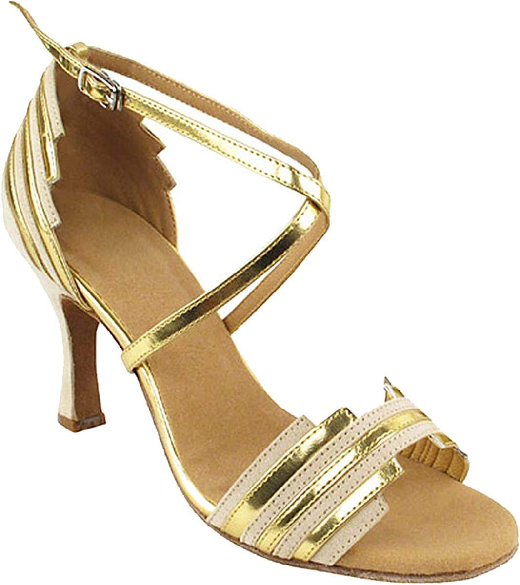 Women's Ballroom Dance Shoes Tango Wedding Salsa Dance Shoes Beige Nubuck 9691EB Comfortable - Very Fine 3
