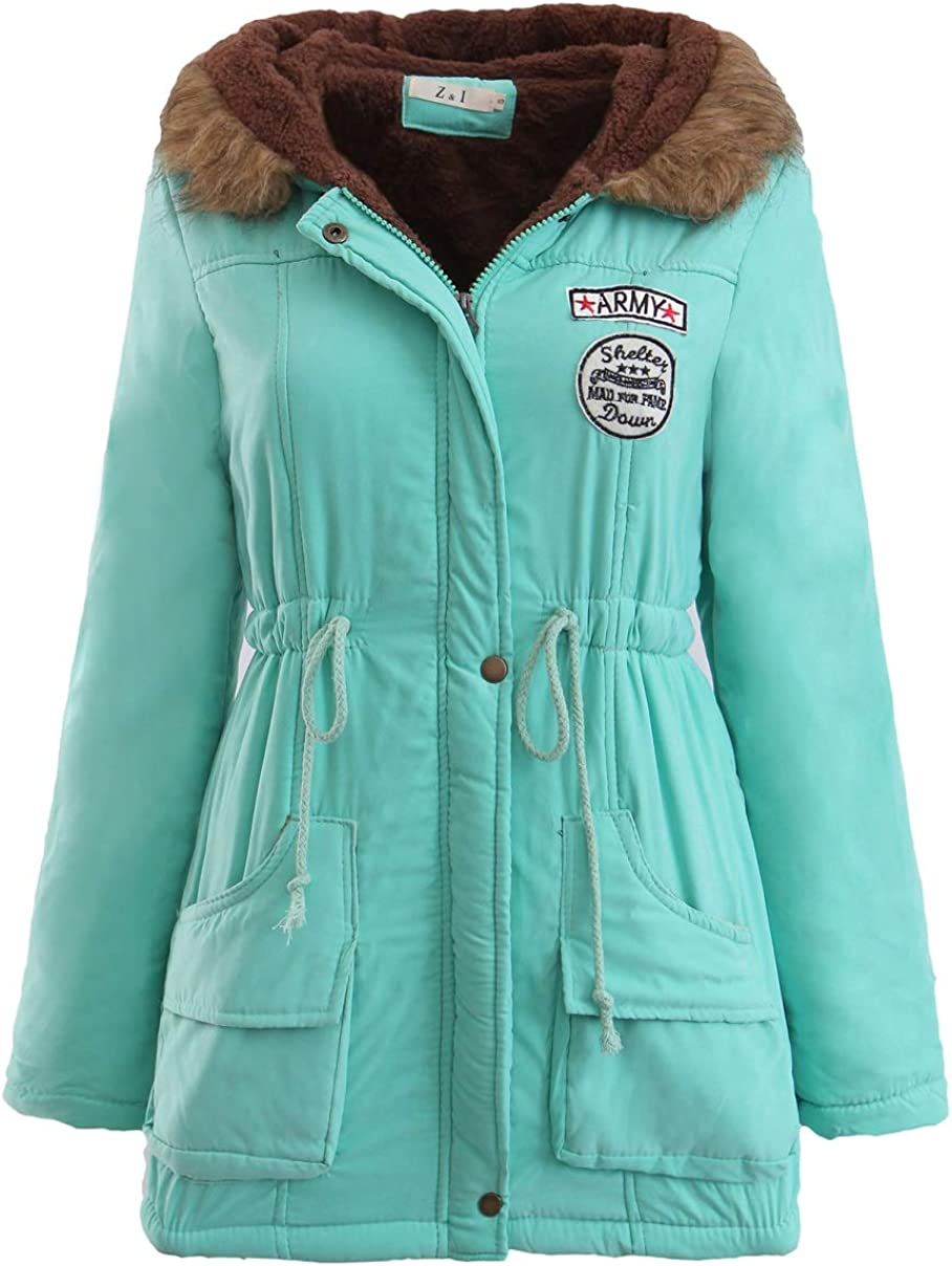 CHARTOU Women's Faux Fur Lamb Wool Hooded Puffy Sherpa Lined Quilted Jacket Coat