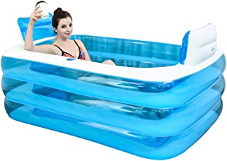 XL Blue Color Inflatable Bathtub Plastic Portable Foldable Bathtub Soaking Bathtub Home SPA Bath Equip with Electric Air Pump, 160x120x60cm
