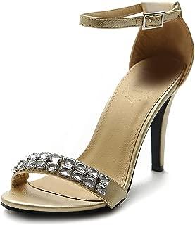 Women's Shoe High Heel Pump Ankle Strap Dress Jewel Sandal