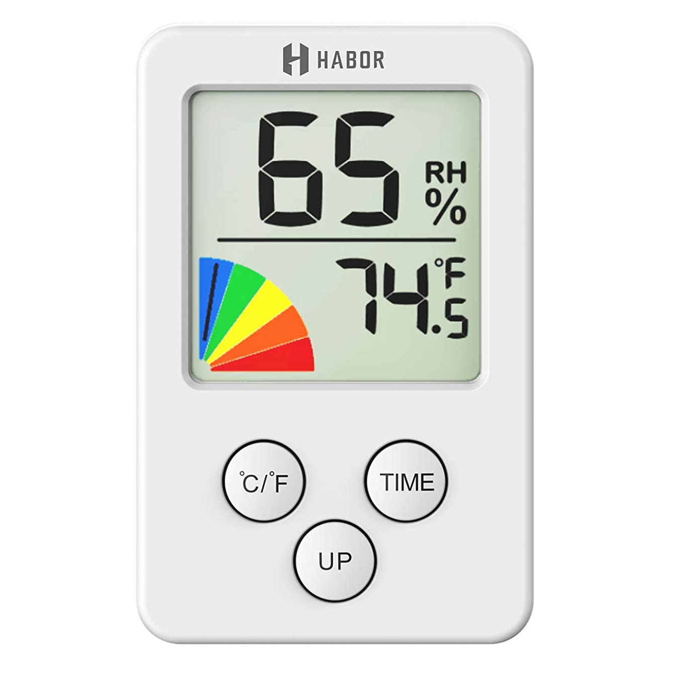 Habor STHBHM219AW-USAA1 Mini Indoor Thermometer Digital Hygrometer, 12/24 Hour Time Clock, m, Office, Greenhouse, Cellar, White (2.7 X 1.7)