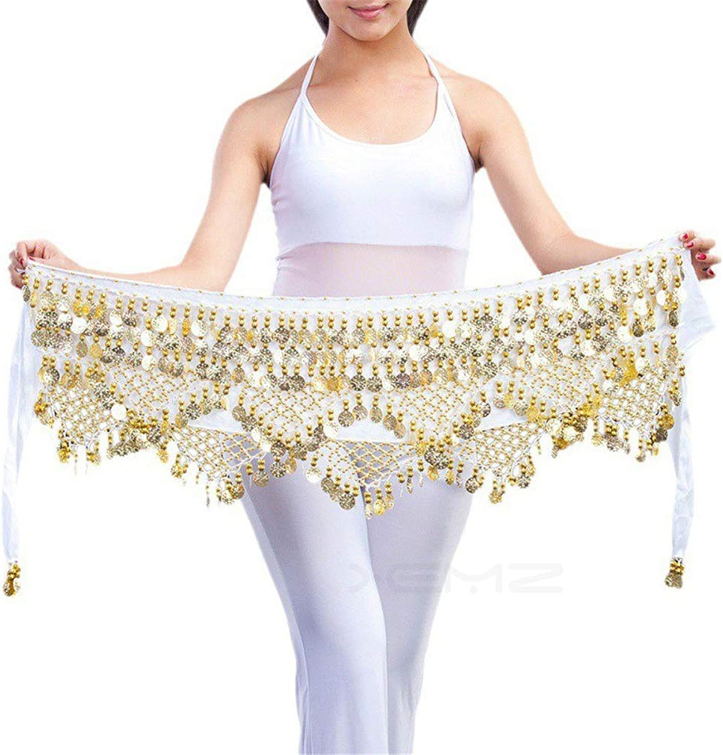 XEMZ Women's Belly Dancing Belt Hip Scarf with 320 Coins, Velvet Dance Waist Chain Wrap Skirt Straps, for Professional Dancers Performance, Costume Parties, Costume Belt Accessory Idea Gift