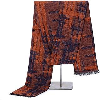 Scarves for men Mens Classic Scarf Winter Scarf Soft Elegant Scarves With Tassel Scarf (Color : Orange, Size : Onesize)