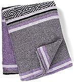Genuine Mexican Handwoven Blanket Premium Large Heavyweight Falsa Blanket, Serape & Yoga Blanket | Beach Blanket | Throw Blanket | Tassel-Less Design | Made in Mexico (Lavender)