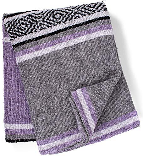 threads west Manta genuina mexicana tejida a mano de primera calidad, gran pesada, manta de serape y yoga   manta de playa   manta   diseño sin borlas   fabricado en México (lavanda)
