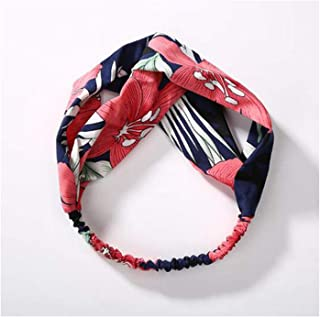 Women Spring Autumn Suede Headband Vintage Cross Knot Elastic Hairband Hair Accessories Style 4 Navy Blue