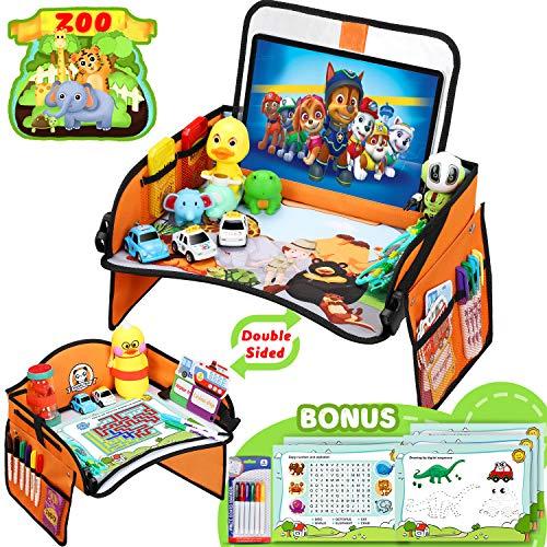 Flyfun Doppelfunktion Kinder Reisetisch, Kindersitz Spiel und Knietablett Reisetisch, Abnehmbarer Tablet-Tasche und Seitentaschen mit 1 Transparenter Film + 5 Zeichenpapier + 6 Farbstifte