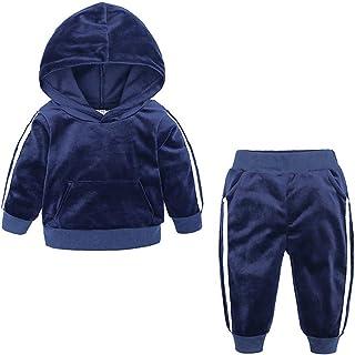 1-8 Años,SO-buts Pequeño Bebé Niños Niñas Otoño Invierno Fleece Sudadera Con Capucha Cálida Tops Pantalones Largos Conjunt...
