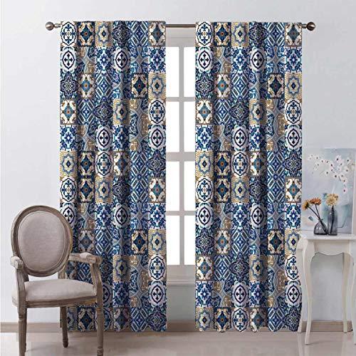 Cortinas opacas de 99% marroquíes con motivos tradicionales de azulejo portugués, rizos orientales para dormitorio, guardería, sala de estar, 54 x 172 pulgadas, color azul, blanco y marrón pálido