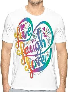 Men's Logo Crew Neck T-Shirt Live Laugh Love Hand Drawn Typography Poster
