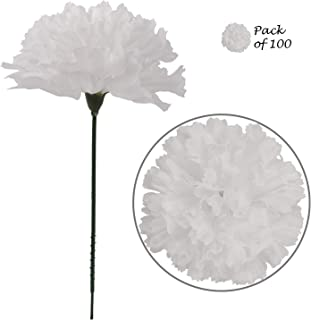 Larksilk White Silk Carnation Picks, Artificial Flower Heads for Weddings, Decorations, DIY Decor, 100 Count Bulk Carnations, 3.5