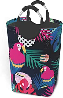 Panier à linge flamant rose Oiseaux tropicaux Fleurs exotiques Oiseau de paradis Strelitzia Feuilles de palmier bleu foncé...
