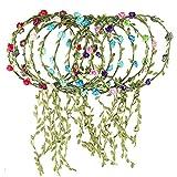 Rocutus 10pcs Bohemian Flower Crown Floral Wreath Garland Headbands for Women