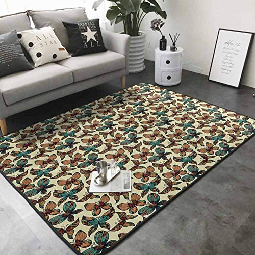Printed Mats for Children Bedroom Butterflies Figures with Rich Ornaments Artistic Design Fragility Freedom Beauty 36'x 60' Modern Abstract Area Rug
