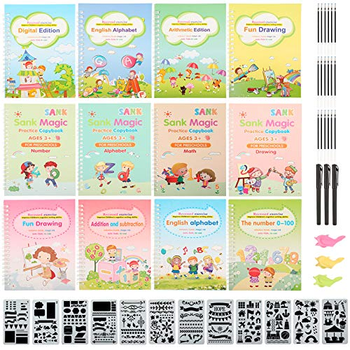 12 Pieces Magic Practice Copybook for Kids The Print Handwiriting Workbook Reusable Writing Practice Book Magic Calligraphy with Pens, Pen Grips, Refills and Drawing Templates for Preschoolers