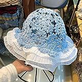Sombrero Pescador Mujer,Temperamento Salvaje Cielo Azul Tejido Sombrero Flor Encaje Hecho A Mano Crochet Señoras Flor Maceta Sombrero Plegable Pescador Sombrero Casual Pintor Sombrero Sun Hats