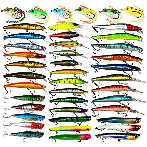 Hard Fishing Lure Set Assorted Bass Soft Fishing Lure Kit Colorful Minnow Popper Crank Rattlin VIB Jointed Fishing Lure Set Hard Crankbait Tackle Pack Saltwater Freshwater (43 pcs)