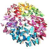 84 piezas de mariposa 3D serie decoración de pared/decoración de superficie/imán de nevera/pegatina de mariposa/mariposa 3D / (mezcla de colores)