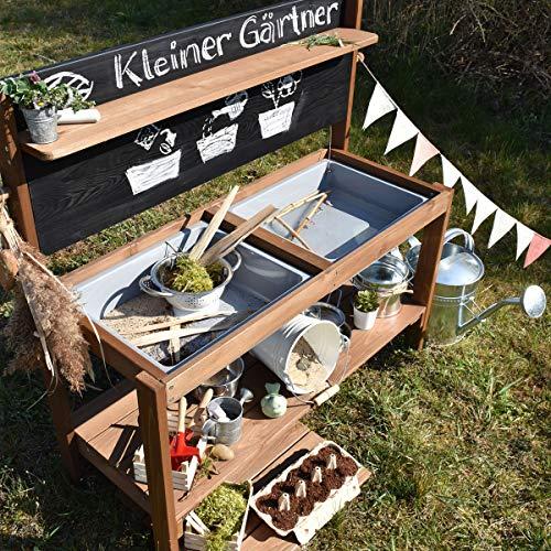 Meppi Matschküche Kleiner Gärtner, braun aus Holz, Outdoor-Küche - 4