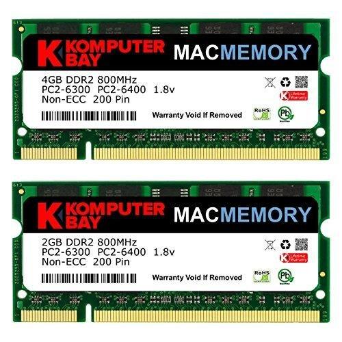 Komputerbay MACMEMORY - Kit de Memoria de 6 GB (módulo de 4GB y 2GB, PC2-6300, 800MHz, DDR2, SODIMM) para iMac (20 , 2008, 2.4 GHz, 2,66 GHz)