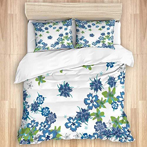 Juego de funda nórdica de 3 piezas, lindas flores florales en estilo retro sobre fondo blanco, juegos de fundas de edredón de microfibra de lujo para dormitorio, colcha con cremallera con 2 fundas de