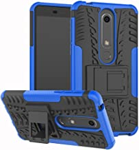 Nokia 6.1 Case,Nokia 6 2018 Case, Yiakeng Dual Layer Wallet Accessories Bumper Hard Protective Flip Waterproof Phone Cases Cover with A Kickstand for Nokia 6.1 (Blue)