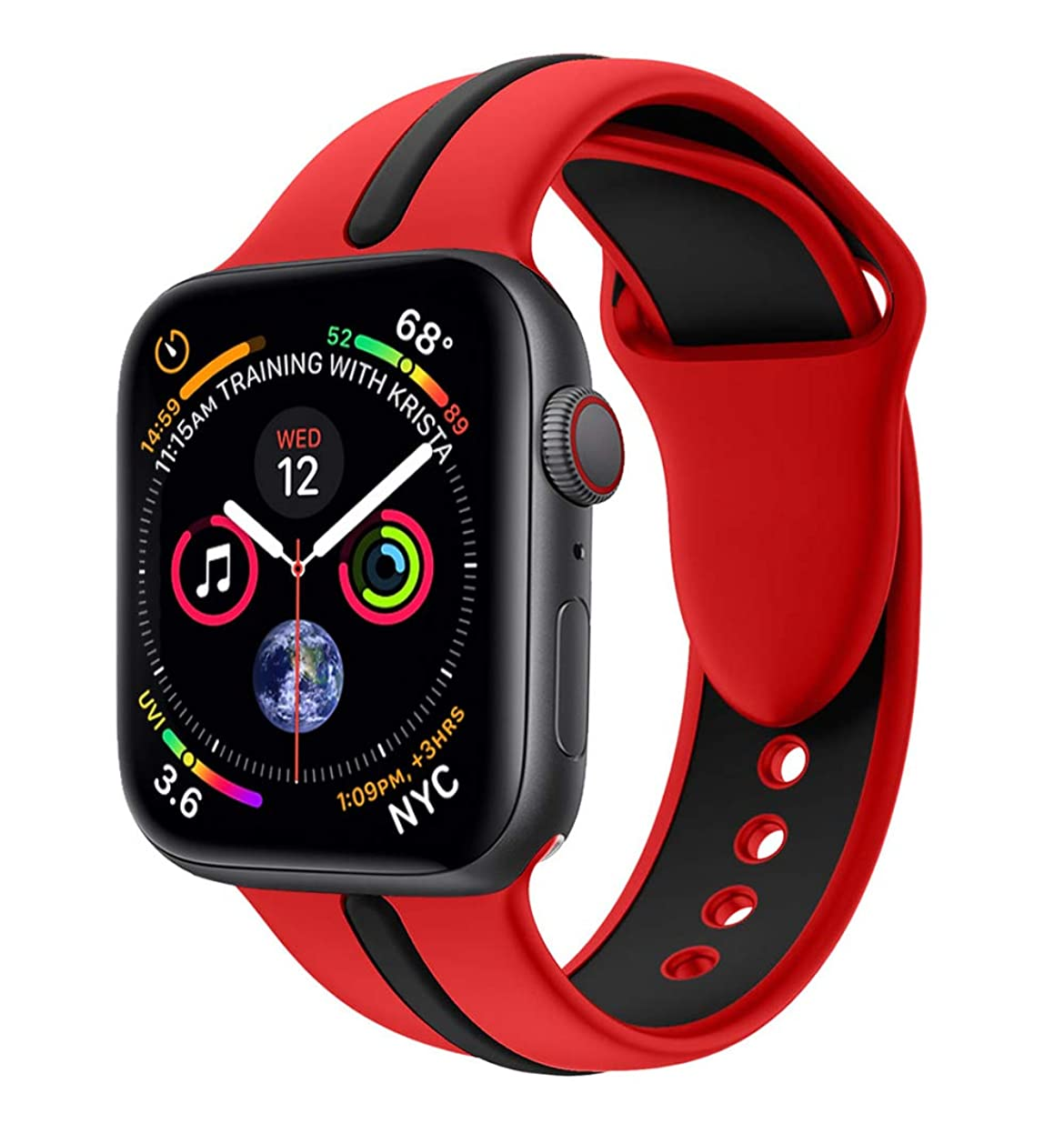 竜巻症状勝利Kartice for Apple Watch 5 /Apple Watch 4 バンド 44mm ソフトシリコンバンド スポーツバンド シリコンアダプター付き Apple Watch Series 5/4 (44mm,赤+黒)
